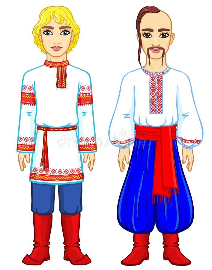 Slavic people. Animation portrait of the Russian and Ukrainian man in traditional clothes. Eastern Europe. Fairy tale character. Full growth. Vector stock illustration