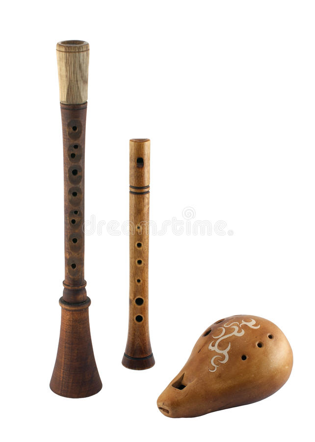 Slavic wind musical instruments royalty free stock photos