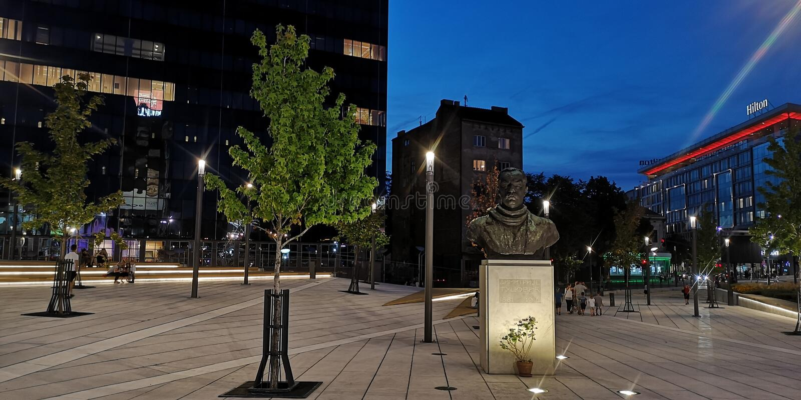Slavija Square in Belgrade by night stock image