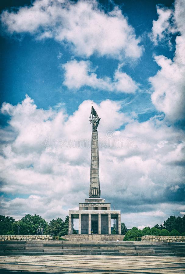 Slavin monument, Bratislava, Slovakia, analog filter royalty free stock image