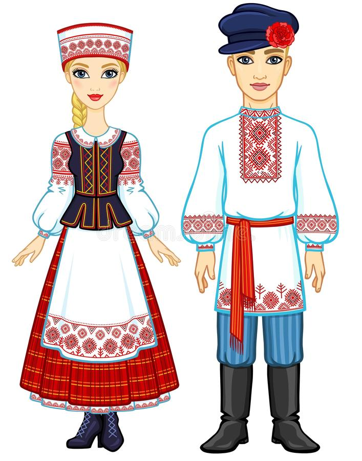 Slavisk skönhet Animeringstående av den vitryska familjen i nationell kläder stock illustrationer