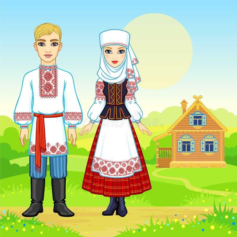 Slavisk skönhet Animeringstående av den vitryska familjen i nationell kläder vektor illustrationer