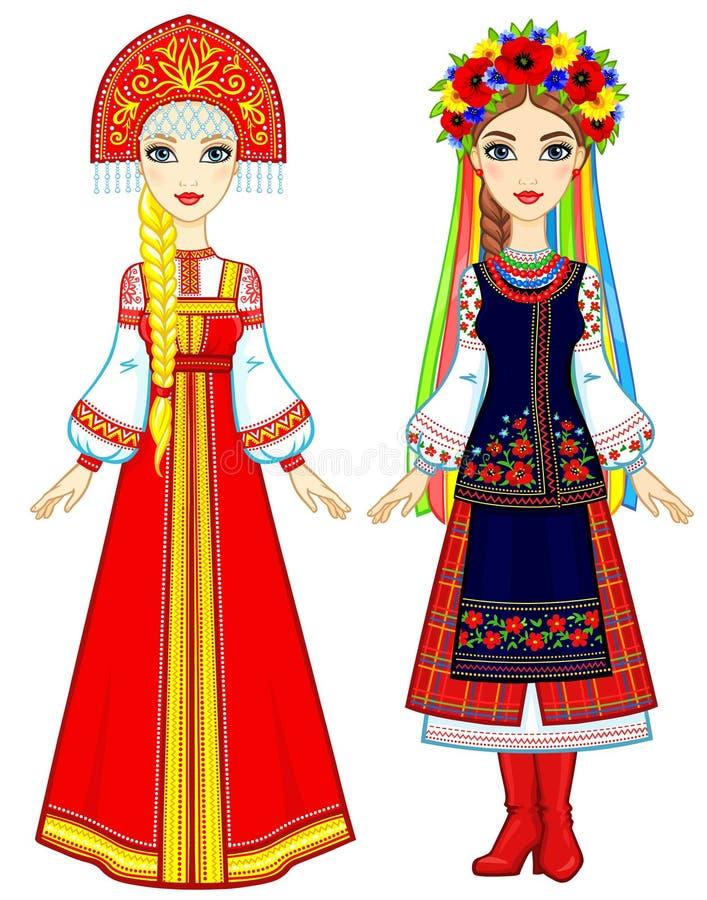 Slaviskt folk Animeringstående av den ryska och ukrainska kvinnan i traditionell kläder Eastern Europe Troll med champinjonen stock illustrationer