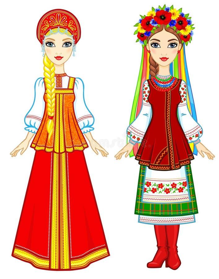 Slaviskt folk Animeringstående av den ryska och ukrainska kvinnan i traditionell kläder Eastern Europe Troll med champinjonen vektor illustrationer