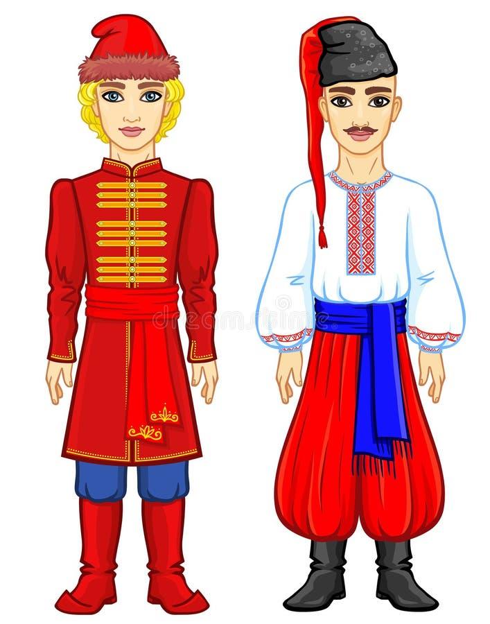 Slaviskt folk Animeringstående av den ryska och ukrainska mannen i traditionell kläder Eastern Europe stock illustrationer