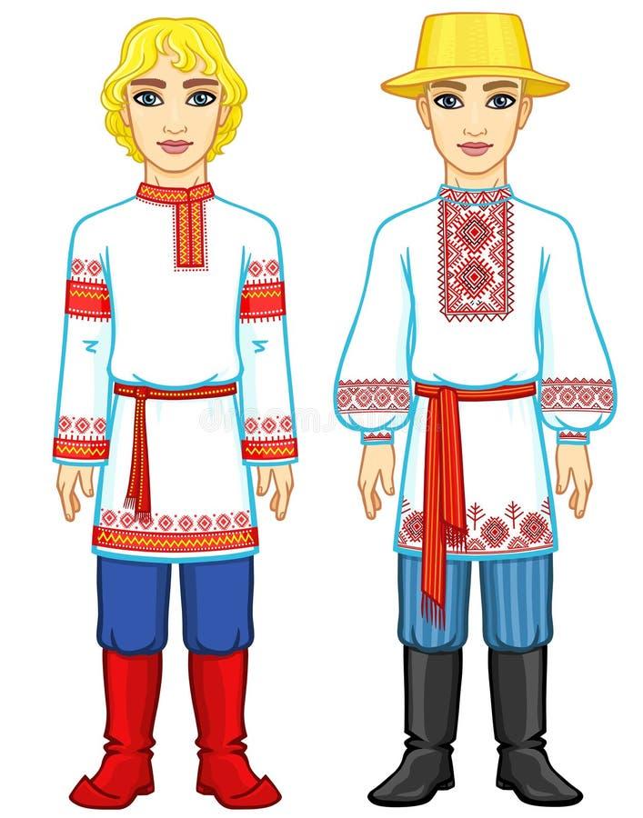 Slaviskt folk Animeringstående av den ryska och vitryska mannen i traditionell kläder royaltyfri illustrationer