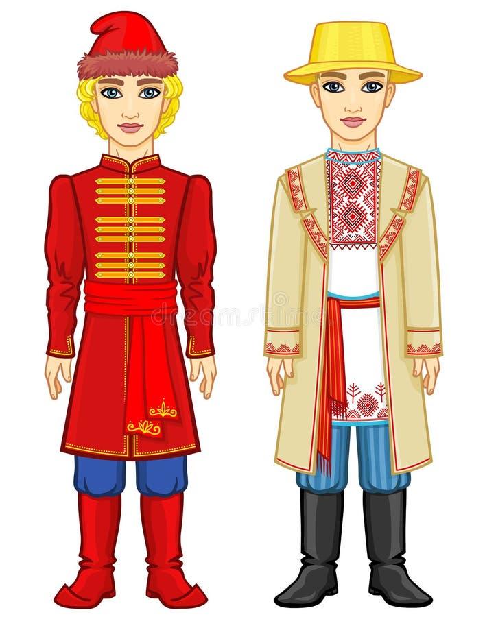 Slaviskt folk Animeringstående av den ryska och vitryska mannen i traditionell kläder stock illustrationer
