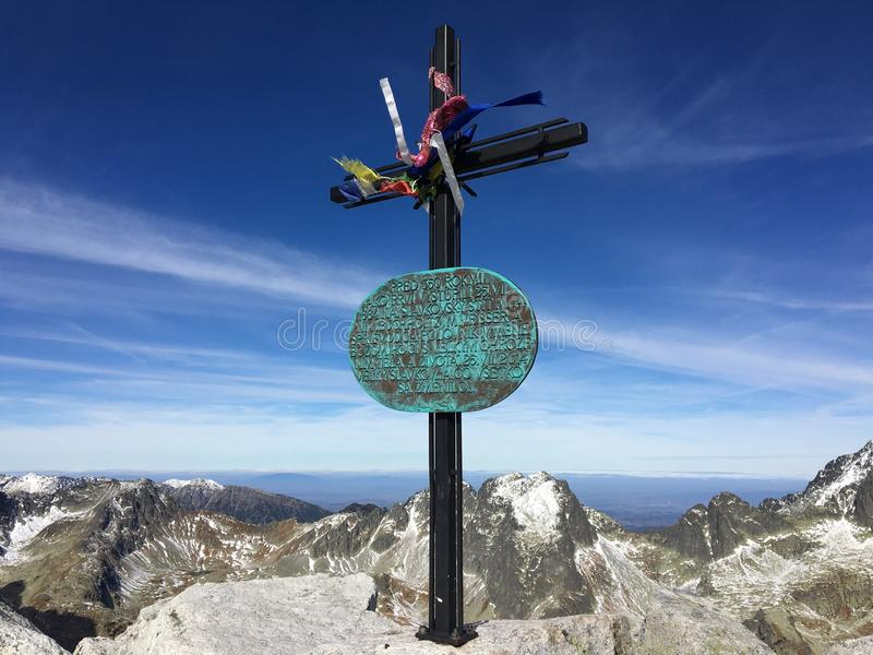 Slavkovský štít, top of this amazing peak in Slovakia stock photos