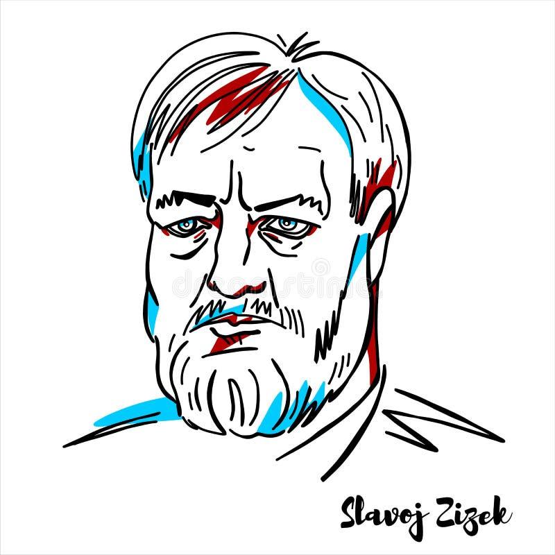 Slavoj Zizek portret royalty ilustracja