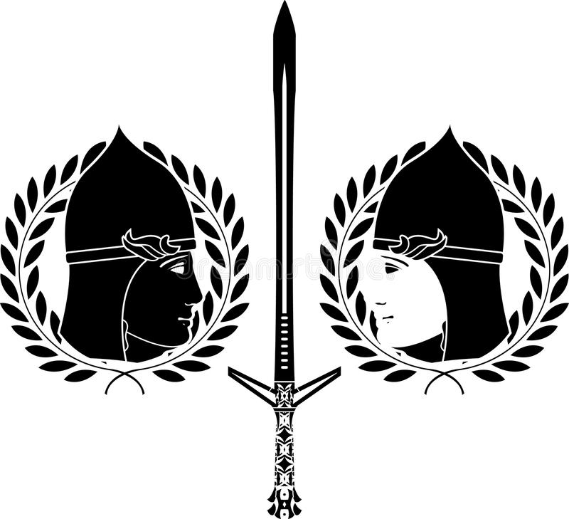 Download Slavonic Warrior. Stencil Royalty Free Stock Photos - Image: 19449898
