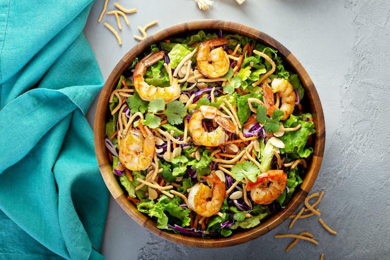 Slaw asiático da salada do estilo com camarão fotografia de stock