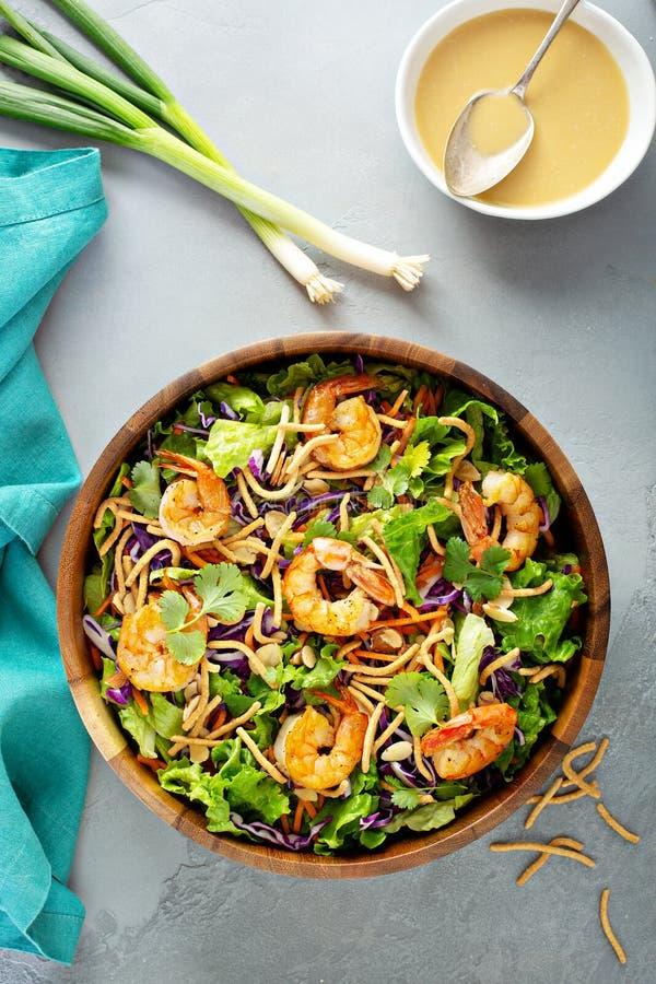 Slaw asiático da salada do estilo com camarão imagens de stock royalty free