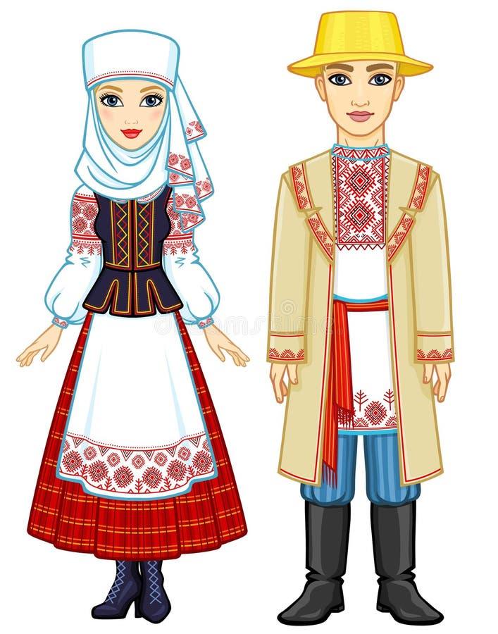 Slawische Schönheit Animationsporträt der belarussischen Familie in der nationalen Kleidung lizenzfreie abbildung