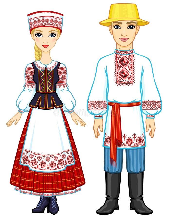 Slawische Schönheit Animationsporträt der belarussischen Familie in der nationalen Kleidung stock abbildung