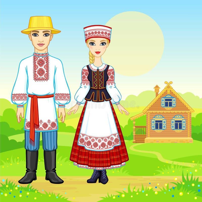 Slawische Schönheit Animationsporträt der belarussischen Familie in der nationalen Kleidung vektor abbildung