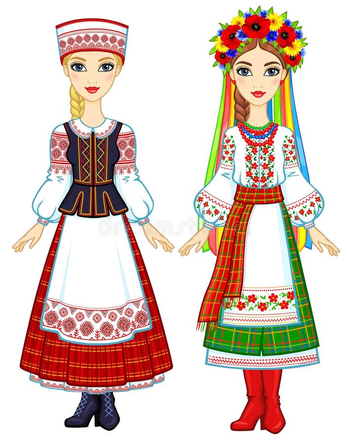 Slawische Schönheit Animationsporträt der ukrainischen und belarussischen Mädchen in den nationalen Klagen lizenzfreie abbildung