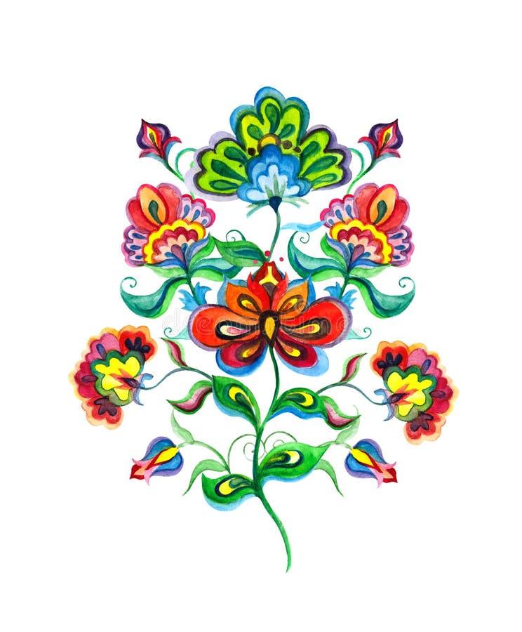 Slawistyczni ludowej sztuki kwiaty Akwarela czarodziejski motyw europejska ręka wykonywał ręcznie kwiecistego ornament - Wschodni royalty ilustracja