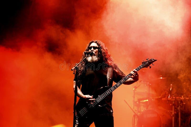 Slayer heavy metal music band perform in concert at Primavera Sound 2017. BARCELONA - JUN 1: Slayer heavy metal music band perform in concert at Primavera Sound royalty free stock photo