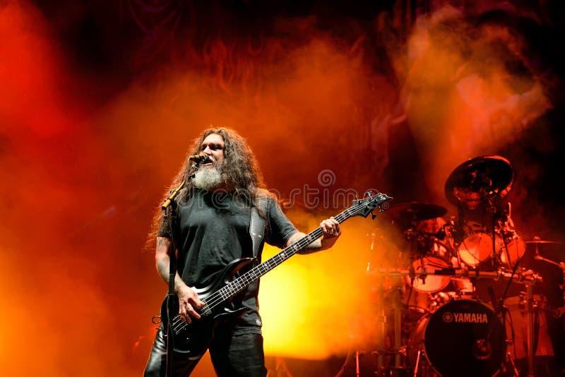 Slayer heavy metal music band perform in concert at Primavera Sound 2017. BARCELONA - JUN 1: Slayer heavy metal music band perform in concert at Primavera Sound royalty free stock photos
