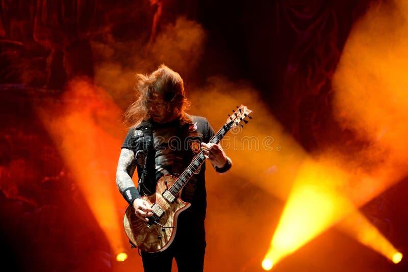 Slayer heavy metal music band perform in concert at Primavera Sound 2017. BARCELONA - JUN 1: Slayer heavy metal music band perform in concert at Primavera Sound stock photo