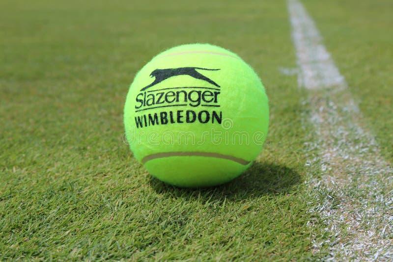 Slazenger Wimbledon Tenisowa piłka na trawa tenisowym sądzie fotografia royalty free