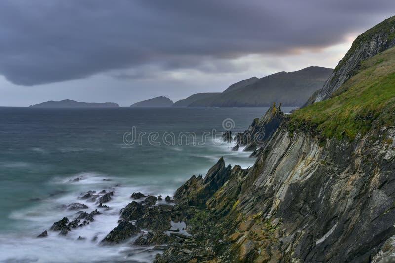Slea朝向幽谷半岛,凯利,爱尔兰 库存图片