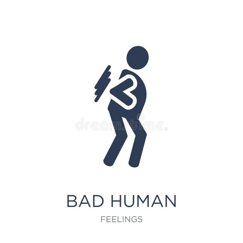 slecht menselijk pictogram In vlak vector slecht menselijk pictogram op witte backg vector illustratie