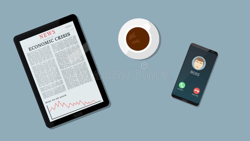 Slecht nieuws voor economie en Zaken onderaan grafiek, negatieve pijl op tablet terwijl de werkgever roept Coffe en bedrijfsachte vector illustratie