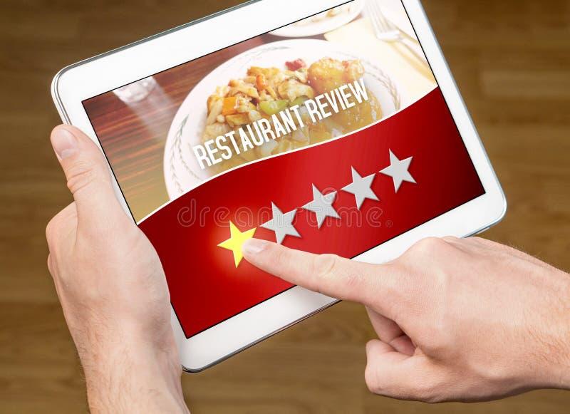 Slecht restaurantoverzicht Teleurgestelde en ontevreden klant royalty-vrije stock foto