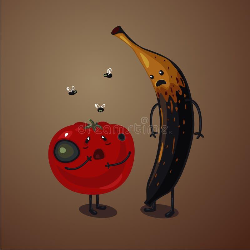 Slecht voedsel Rotte vruchten en groenten Bedorven tomaat en banaan Verlopen ingrediënten royalty-vrije illustratie