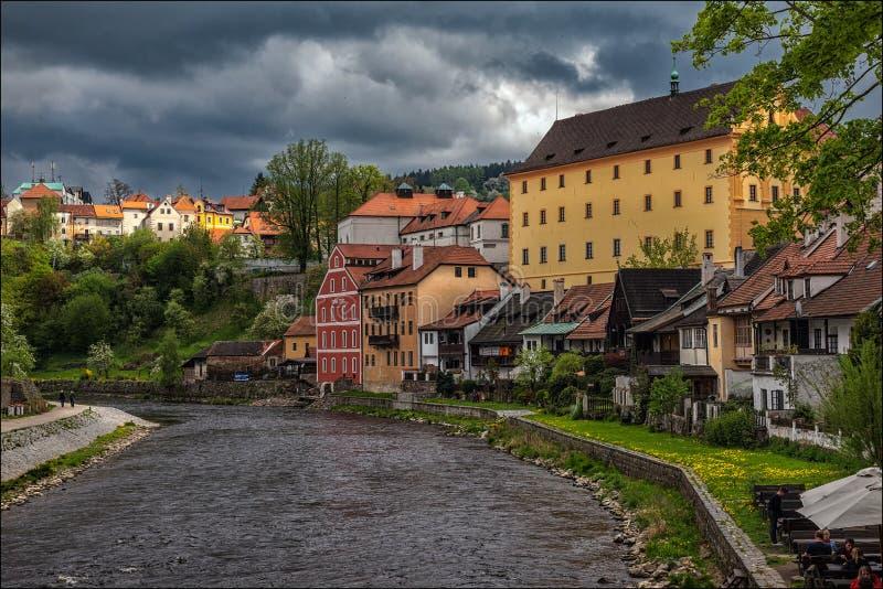 Slecht weer in Cesky Krumlov Tsjechische Republiek royalty-vrije stock afbeelding