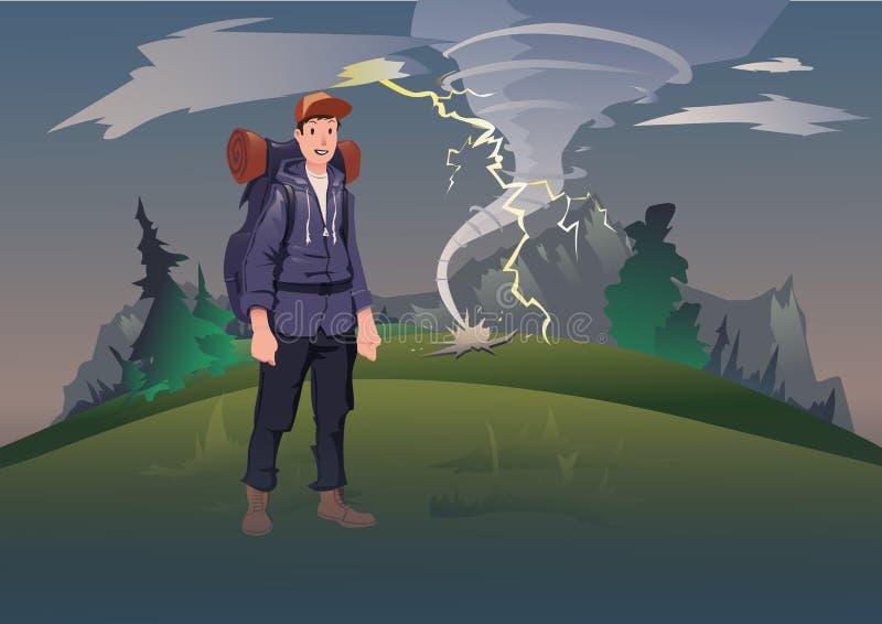 Slecht weer in de bergen Mens met rugzak op de achtergrond van het berglandschap met tornado en bliksem vector illustratie