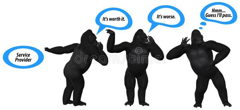 Slechte Communicatie Vaardigheden Gorilla Illustration stock illustratie