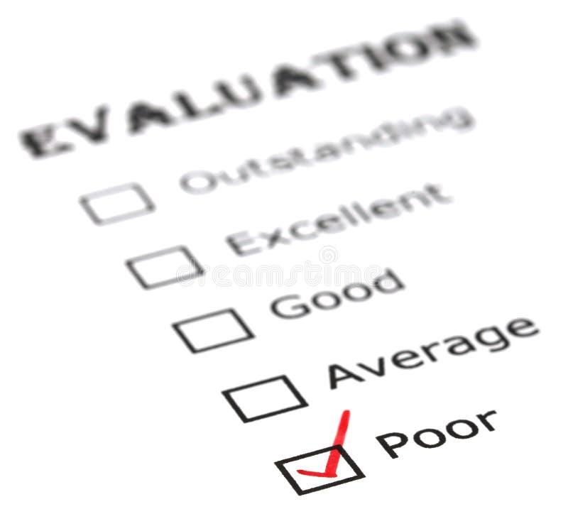 Slechte evaluatie royalty-vrije stock afbeelding