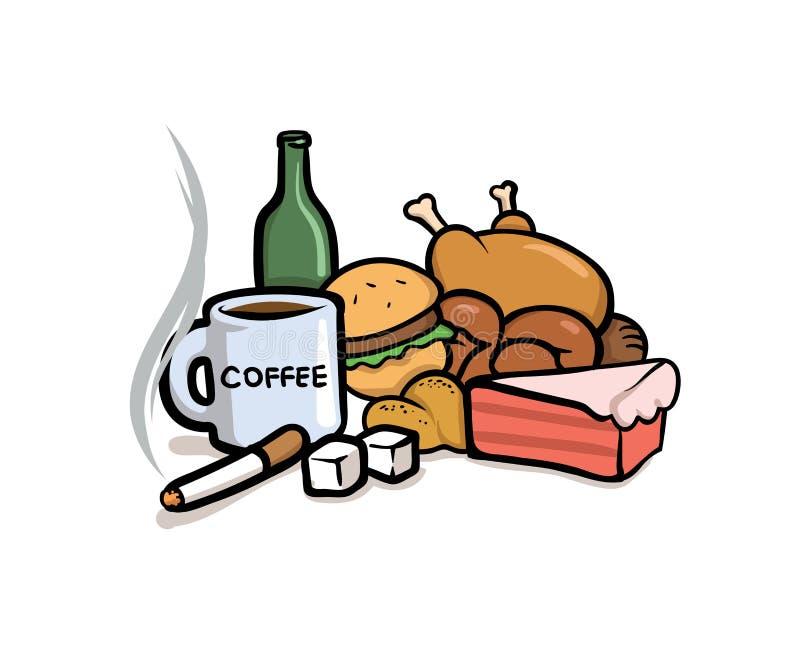 Slechte gewoonten Cafeïne, suiker, het roken, en ongezonde kost Vlakke vectorillustratie Geïsoleerdj op witte achtergrond vector illustratie