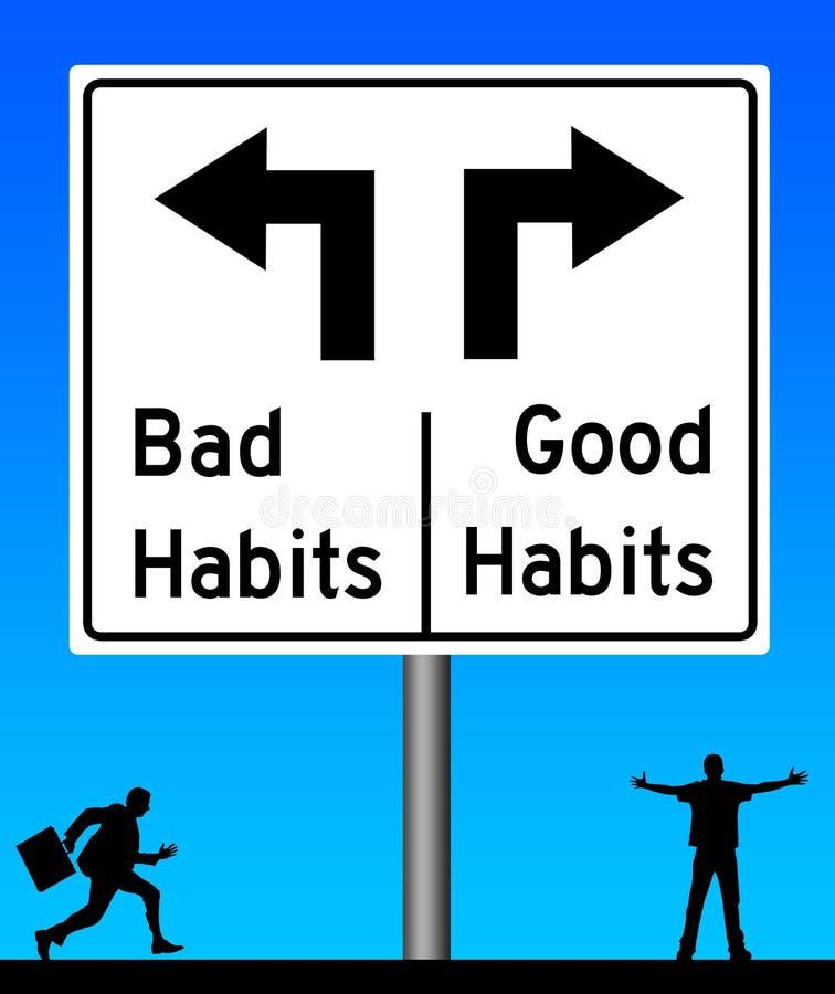 Slechte gewoonten goede gewoonten royalty-vrije illustratie