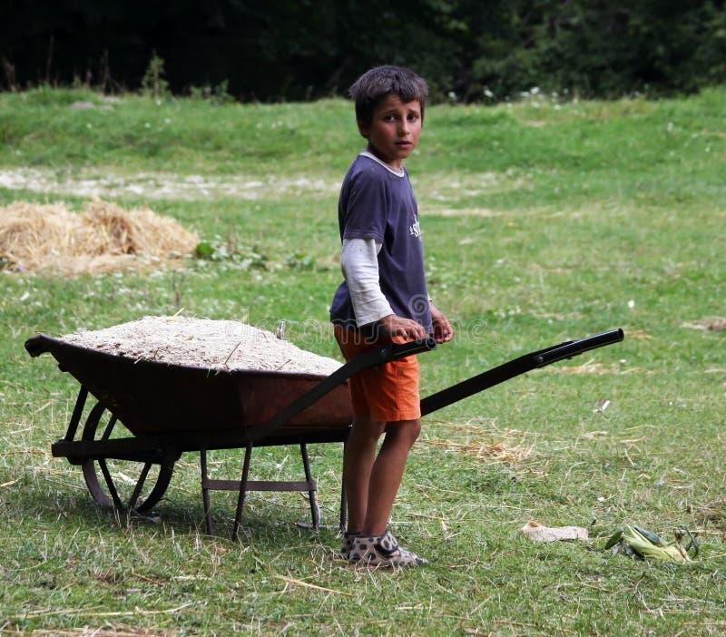 Slechte kinderen die aan een gebied werken stock fotografie