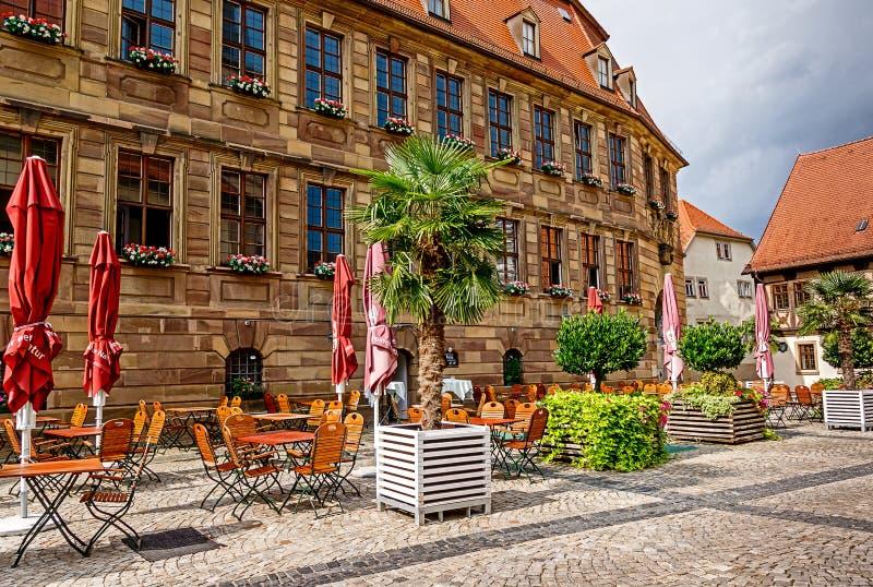 Slechte Kissingen, Duitsland - het vroegere Barokke Kasteel lochner-Heussleinsche is het huidige stadhuis royalty-vrije stock afbeelding
