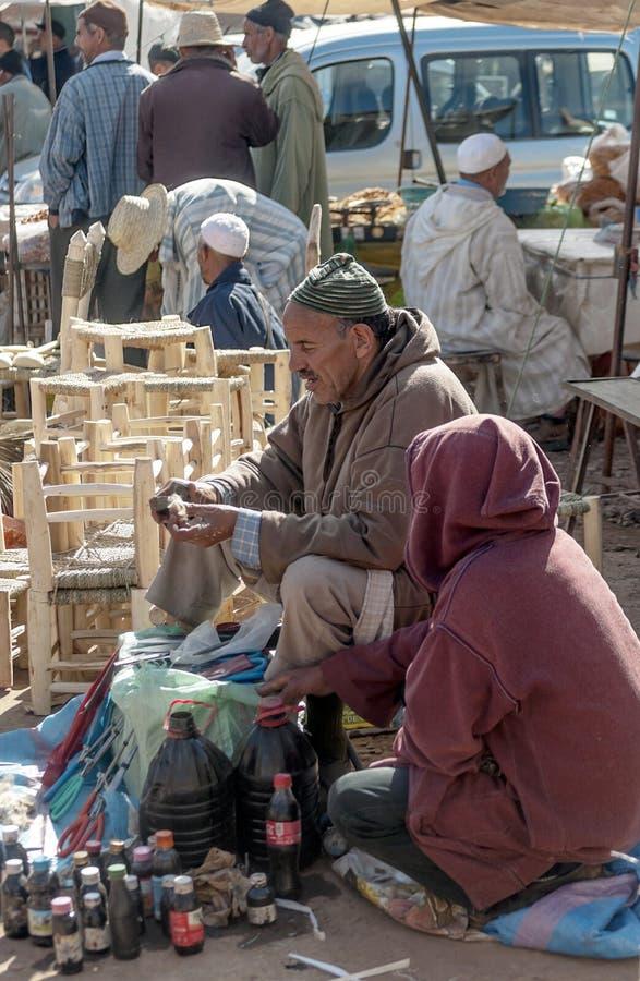 Slechte markt Marokko stock afbeelding