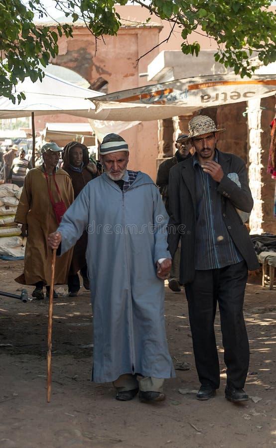 Slechte markt Marokko stock foto's
