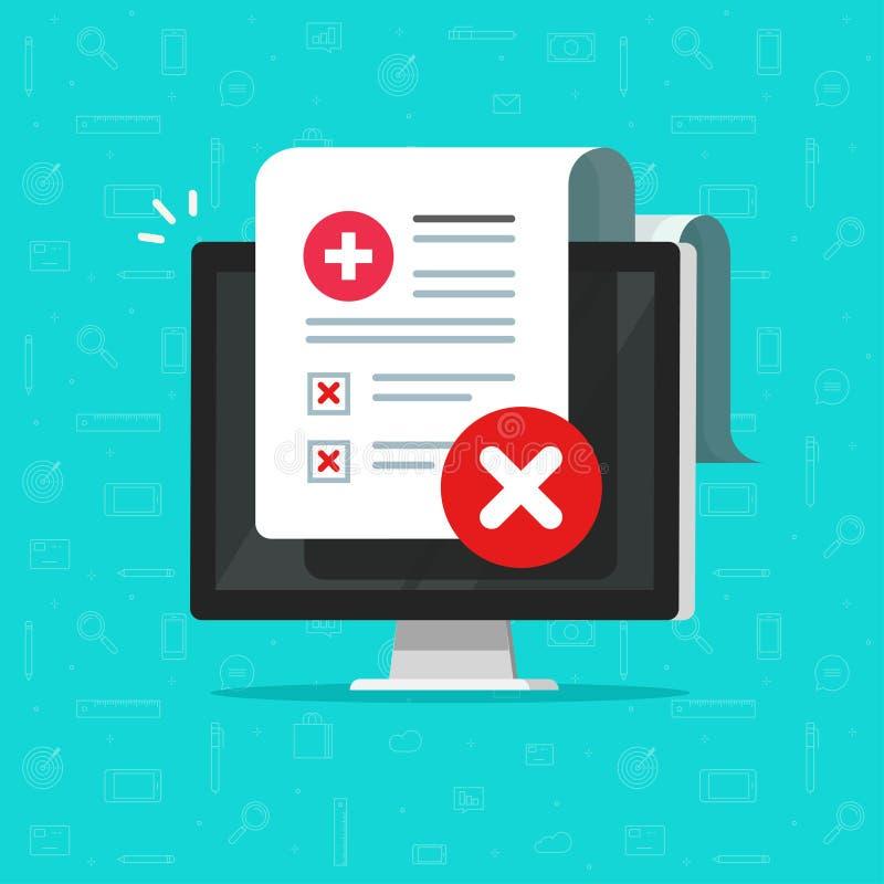 Slechte medische controle of diagnosedocument vectorillustratie, vlakke beeldverhaalcomputer met ongezond geduldig document stock illustratie