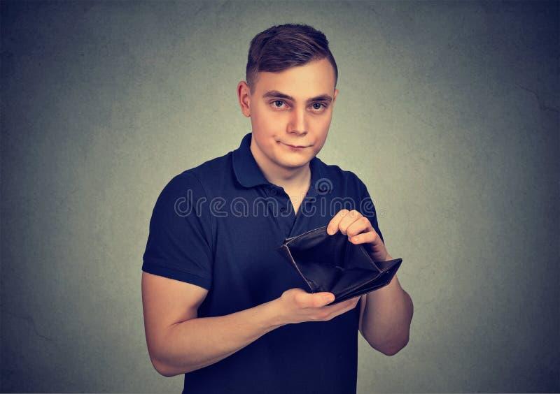 Slechte mens met lege portefeuille stock afbeeldingen