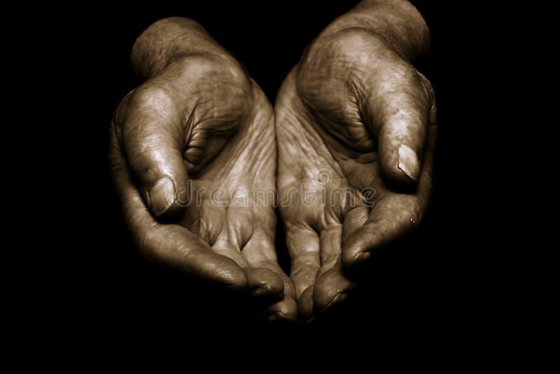 Slechte oude handen royalty-vrije illustratie