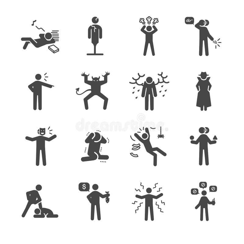 Slechte persoonlijkheid en karakter geplaatste pictogrammen stock illustratie