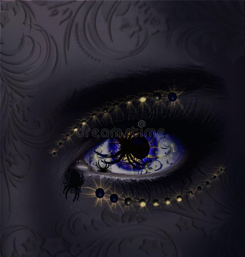 Slechte stemming Kunst-oog op het kunst-gezicht royalty-vrije illustratie