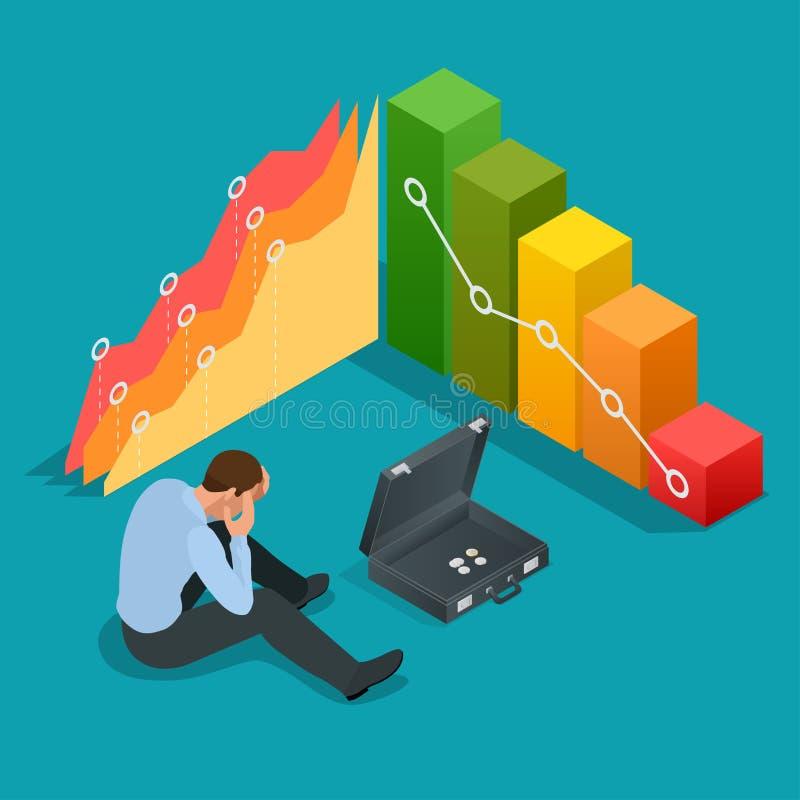Slechte zakenman Niet succesvolle zakenman Gedeprimeerde Zakenman Leaning His Head onder een Slechte Effectenbeursgrafiek vector illustratie