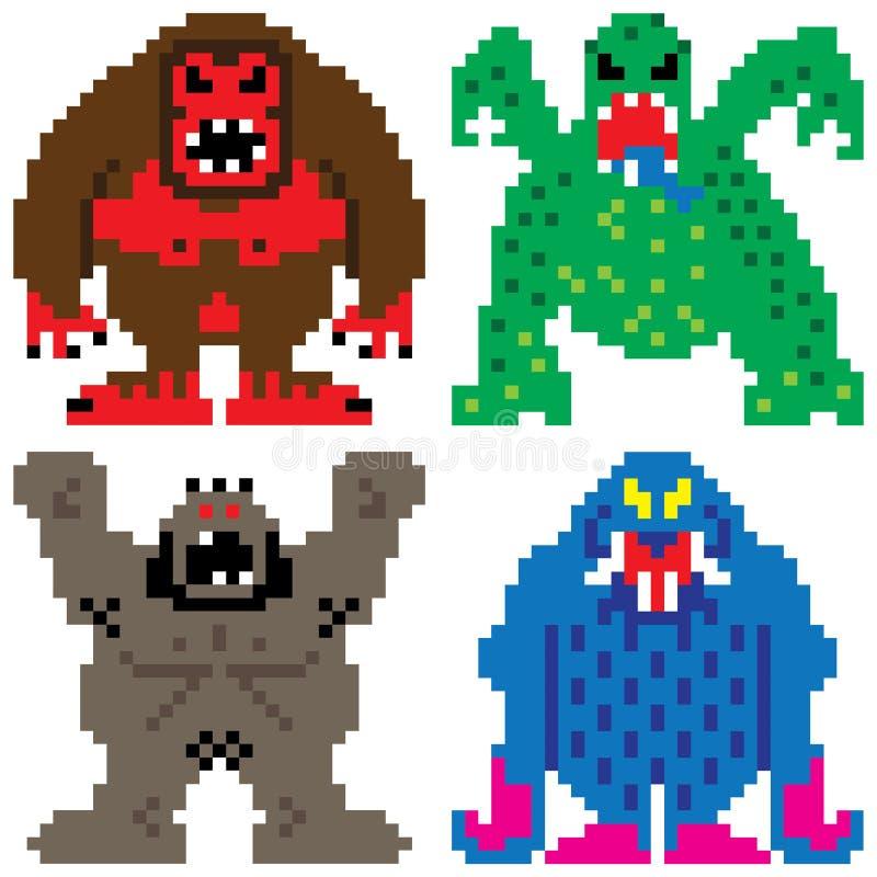 Slechter het pixelart. van nachtmerrie angst aanjagend monsters vector illustratie