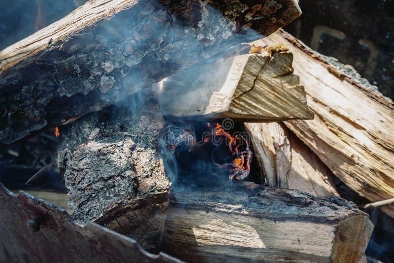 Slechts nam hij geleken de brand onder de houten-brand in de grill royalty-vrije stock afbeeldingen