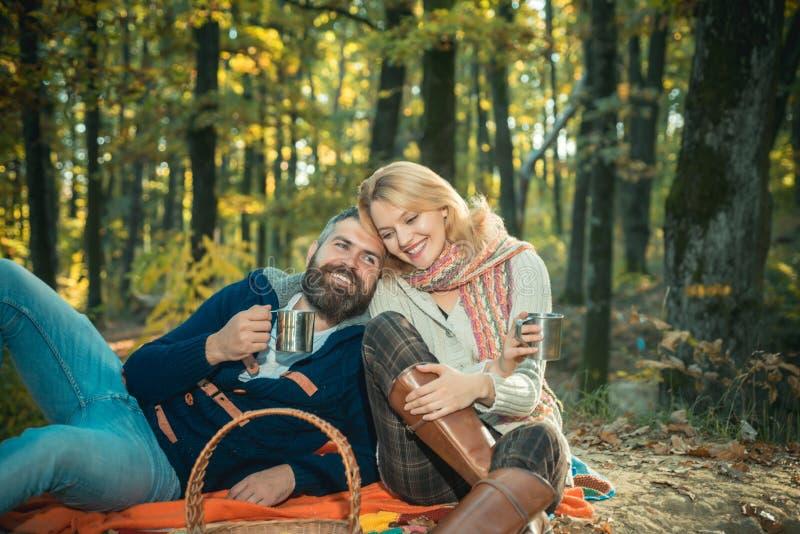 Slechts twee van ons een aard rond Het concept van het toerisme Picknickmand met voedsel, vruchten en fles wijn Het ontspannen va stock fotografie