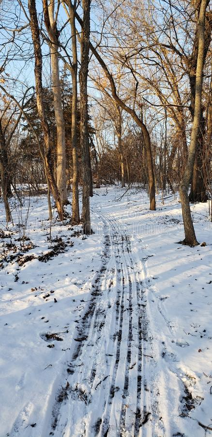 Sled cleared path. Leading the way down the scenic nature walk in kansas city Missouri stock images